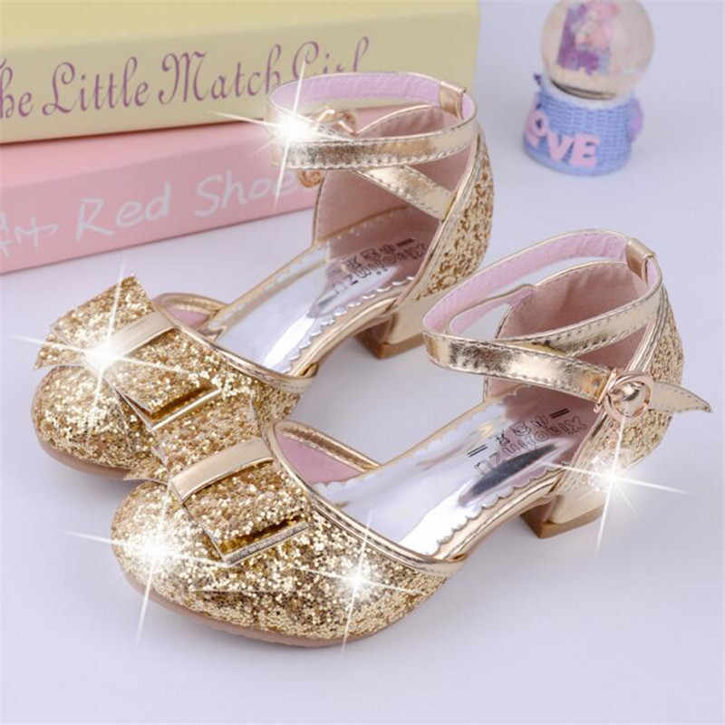 Children Princess Sequined Sandals Kids Girls Wedding Shoes High Heels Dress Shoes Party Shoes For Girls Pink size 26-38