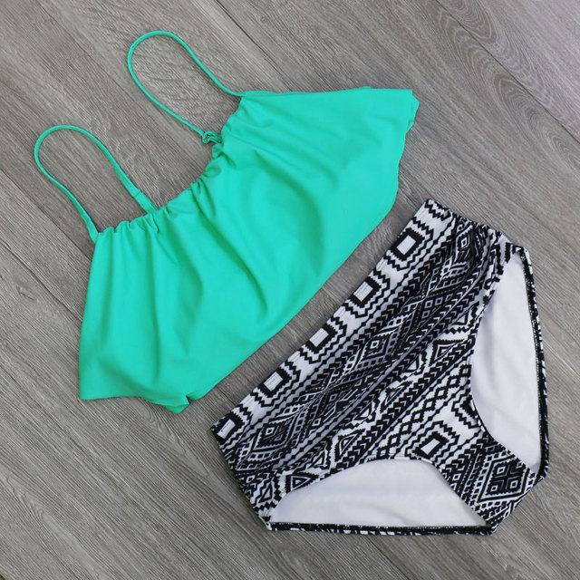 2018 Bikinis Women Swimwear High Waist Swimsuit Halter Sexy Bikini Set Retro Bathing Suits Plus Size Swimwear XXL 4