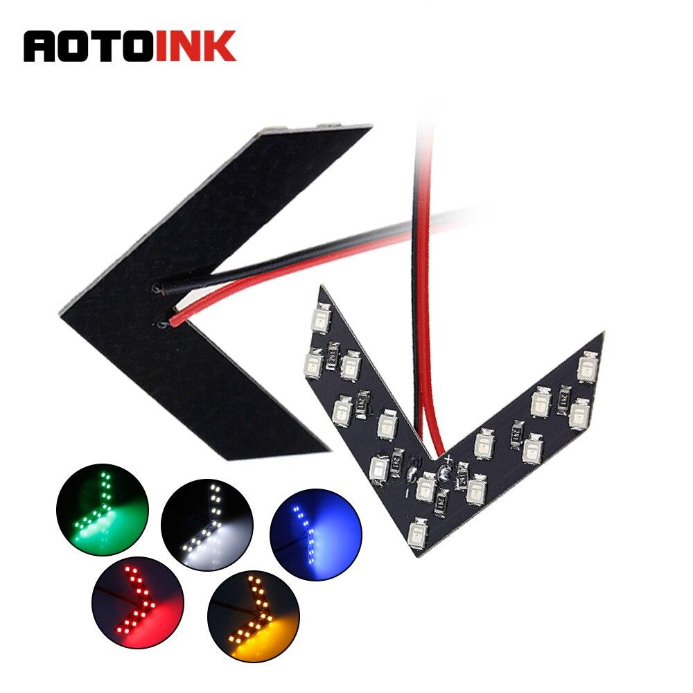 AOTOINK 2 Teile/los 14 SMD Led-pfeil-verkleidung Für Auto Hinten Rückspiegel-anzeige Blinker Licht Auto LED Rückspiegel licht