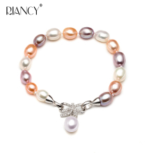 Freshwater pearl bracelet women,natural Multicolor charm 925 sterling silver
