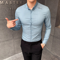 new men striped shirt 2019 mens dress shirts business stripedshirt for male Smart Casual Shirt social top slim long sleeve shirt