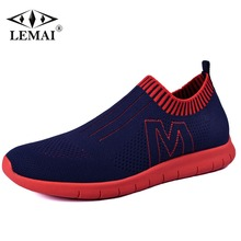 Sale LEMAI New Men Light Running Shoes Spring Summer Sport For Runner Athletic Sneakers Boy Outdoor Air Breathable Fly Shoes 023M-1
