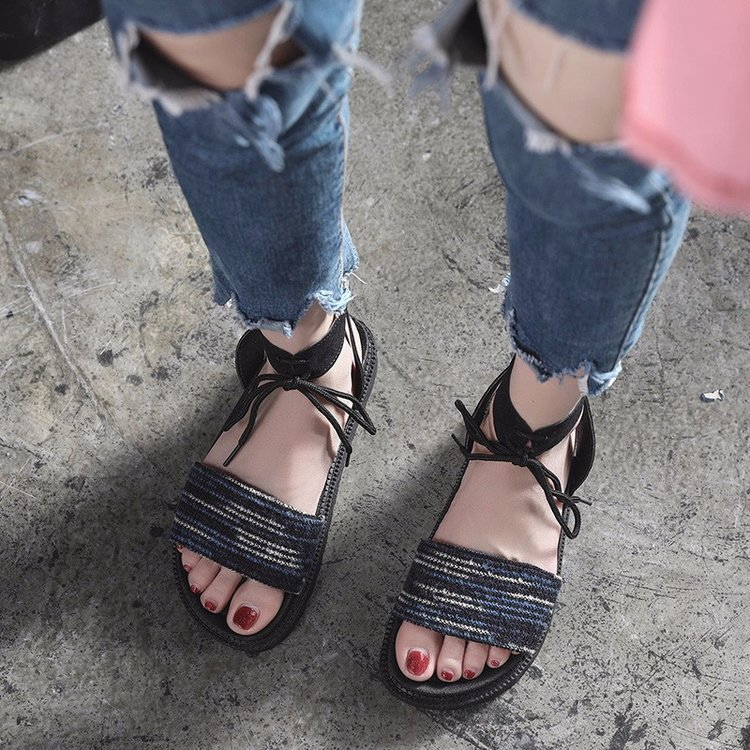 Casual Lace-up Rome Gladiator Women Sandals Solid Ankle Strap Shallow Women Shoes Summer Fashion Flat Sandals 17