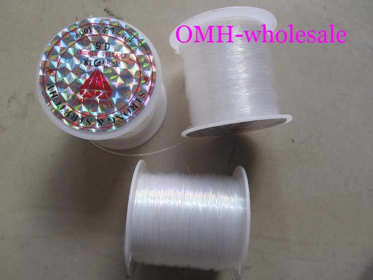 Omh atacado 1 pçs joias achados componentes cristal corda branco 100% linha de cristal peixes amarrando contas linha fio dy11