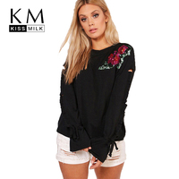Kissmilk Women Plus Size Floral Sequin Sleeve Hole T Shirt Long Sleeve Black Round Neck Basic