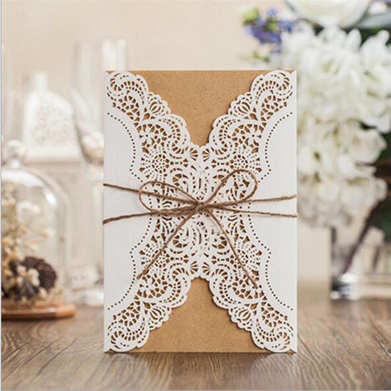 Wholesale 50pcs Hollow Laser Cut Wedding Invitations Card Personalized Custom with Ribbon Free Envelope & Seals Party Supplies 1 design laser cut white elegant pattern west cowboy style vintage wedding invitations card kit blank paper printing invitation