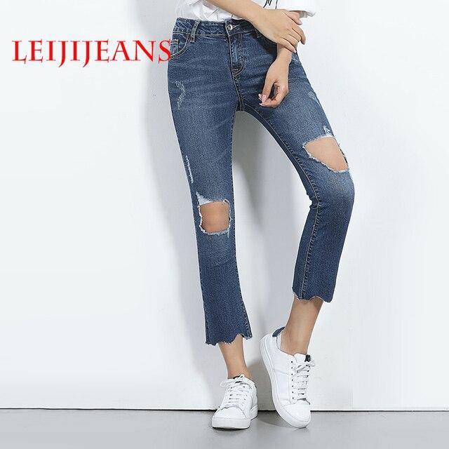 Preferenza Leiji jeans strappati per le donne caviglia lunghezza pantaloni a  VT66