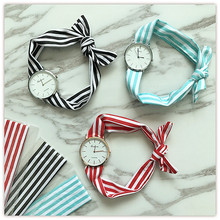 The new trend of personality of female students watch straps cloth ladies fashion watch Literary fan stylish quartz watch