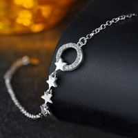 High Quality 925 Sterling Silver Fashion Korean Style Star Bracelet Female Jewelry Simple Fashion Circle Hollow