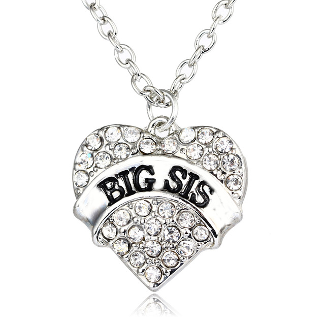 Crystal baby little middle big sister pendant necklace family crystal baby little middle big sister pendant necklace family gifts fashion women jewelry sis silver chain mozeypictures Image collections