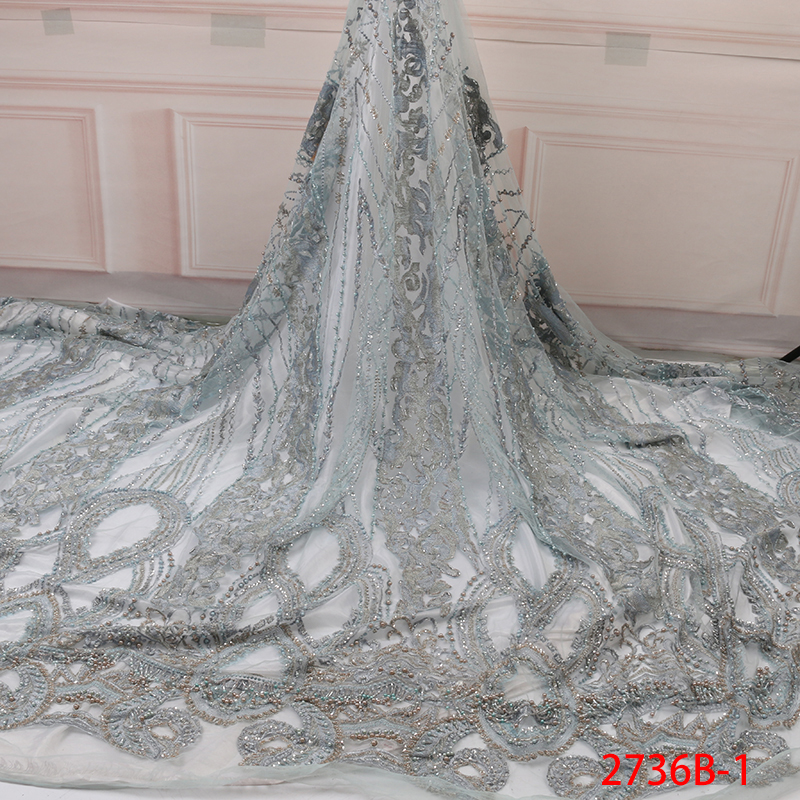 African Lace Fabric High Quality Lace Beaded Fabric French Nigerian Lace Fabric With Sequins Embroidery Wedding Lace KS2736B-3