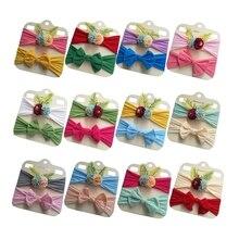 Yundfly 2PCS Newborn Toddler Baby Girls Headwraps Bows Flower Knot Nylon Turban Headband Hair Accessories Birthday Gifts Sets