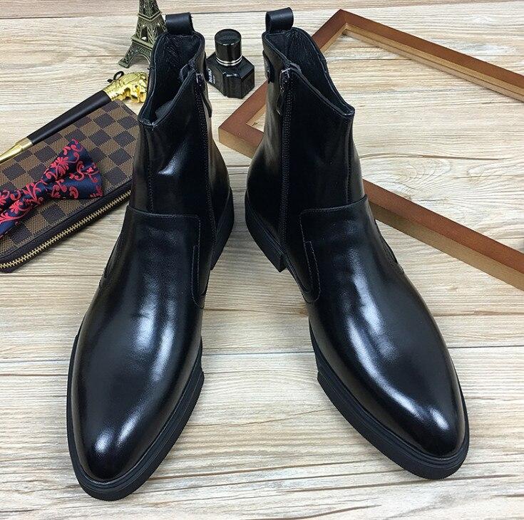 Весна осень, мужские удобные ботильоны из натуральной кожи с острым носком и боковой молнией, черные модельные туфли на толстой подошве в де