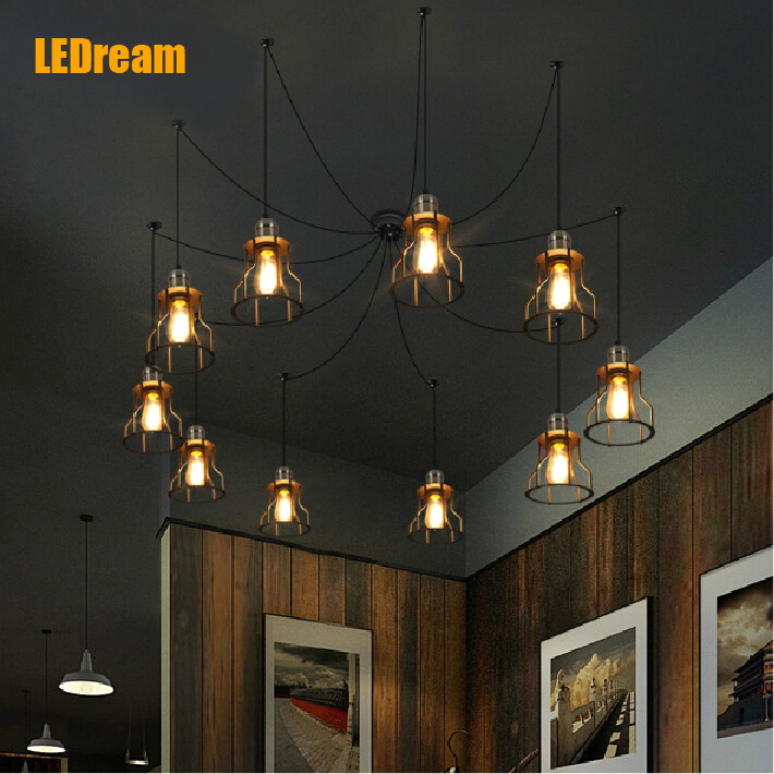 Hot sale Retro Vintage Pendant Light Lamp Loft Creative Personality Industrial Lamp Edison Bulb American Style For Living Room vintage industrial retro style art chandelier led pendant lamp edison bulb american village hanging lamps luminaries black
