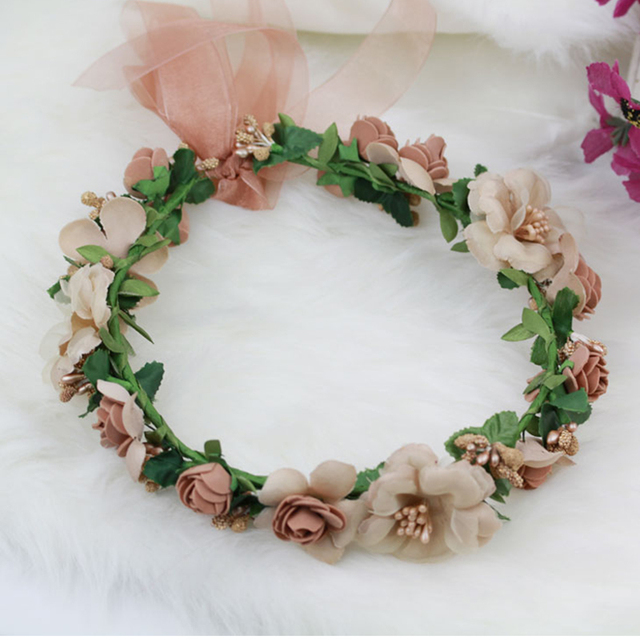 TUANMING Plant Pageant Multicolor Flower Crown Bridal Hair Accessories New Fashion Summer Wedding Luxury  Tiara Bridal Hair Band