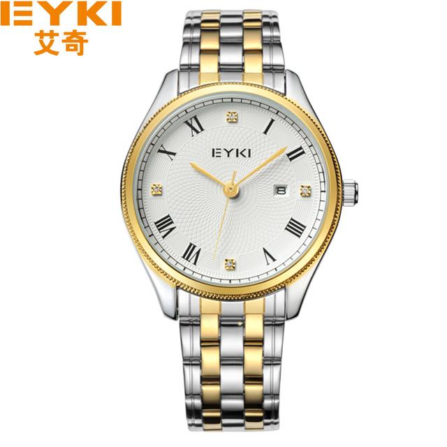 2017 nova eyki marca relógios homens de aço inoxidável diamante relógios de pulso de quartzo relógio ocasional masculino reloj relógios. relógios de pulso do amante