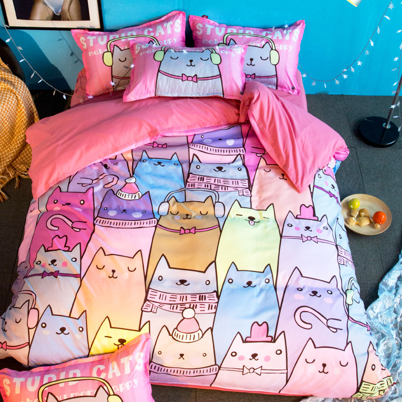 Cat Cartoon Bedclothes Bedding Sets 3pcs New Pattern Duvet Cover Quilt Cover Pillow Cases BeddingOutlet Twin Full Queen King