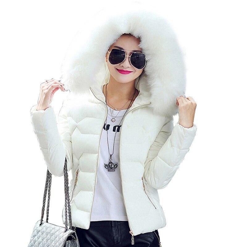 High Quality Women Winter Big Fur Hooded Collar Coat Female Outerwear Ladies Warm Short   Basic     Jacket   Slim Female   Jacket   LJ0814