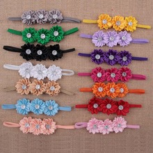 14pcs/lot Newborn Baby Girl Headband Multilayers Satin Rose Flower Hair band Children Photo Props Christmas Hair Accessories