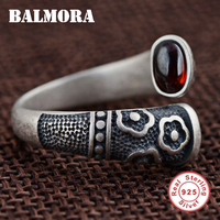 BALMORA Solid 925 Sterling Silver Red Garnet Open Rings for Women Gift Flower Engraving Sterling Silver Ring Jewelry SY21284