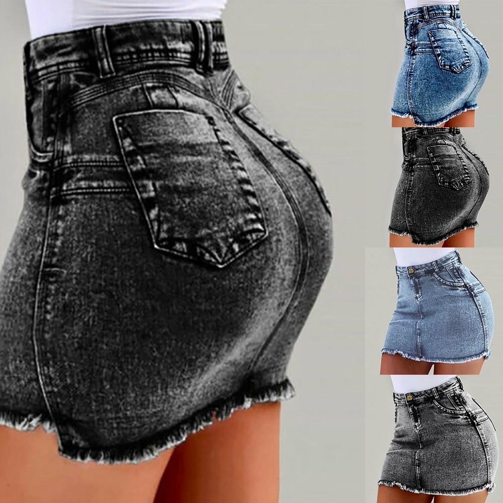 Laamei Women Denim Bodycon Mini Skirts High Waist Sexy Pencil Jeans Short Skirts Women 2019 Summer Fashion Pocket Skirt Female