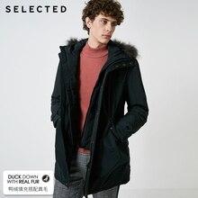 Отборный мужской пуховик с мехом енота средней длины, длинная парка, пальто, теплая одежда S | 418412583