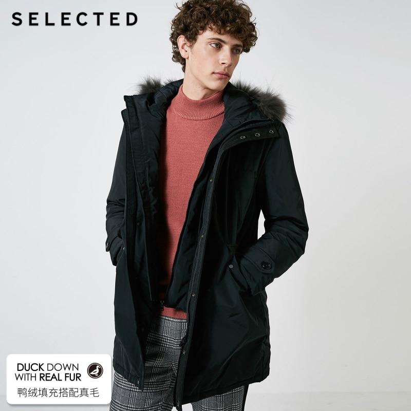 SELECTED Men's Down Jacket With Raccoon Fur Medium Duck Down Long Coat Warm Clothes S|418412583