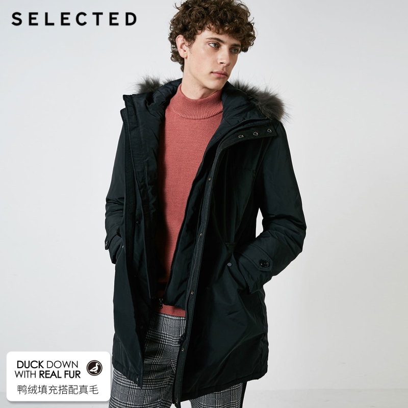 SELECTED Men's Down Jacket With Raccoon Fur Medium Duck Down Long Parka Coat Warm Clothes S|418412583