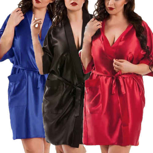プラス Szie シルクローブセクシーな女性ショートサテン着物ローブパジャマナイトガウンドレス女性バスローブ