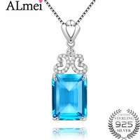 Almei 10ct Cushion-Cut Genuine Sky Blue Topaz Pendant Necklace 925 Sterling Silver 45cm Box Chain Fine Jewelry with Box 40%FN005