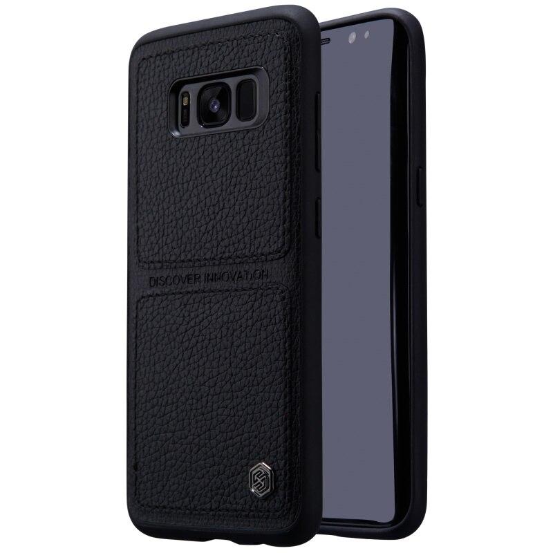 bilder für NILLKIN für Galaxy S 8 Fall Burt Fall Leder Beschichtet PC TPU kombinierter Rückseitige Abdeckung Handy Schutzfolie für Samsung Galaxy S8 G950-Schwarz