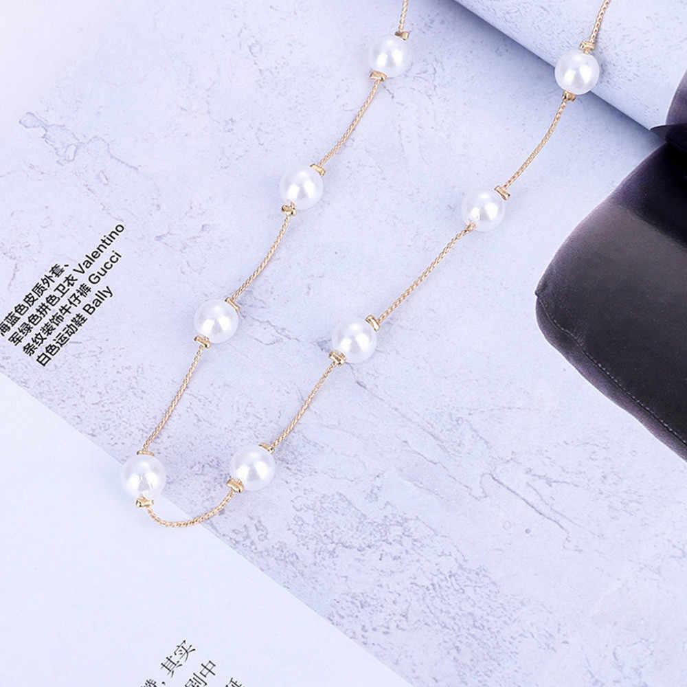2019 elegante halskette frauen Kurze Halskette Perle Mono Halskette Schlüsselbein Kette Zubehör @ 8