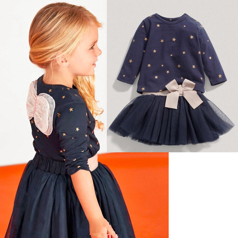 2016 Autumn Spring Children Clothing Girls Set Kids Clothes Brand Girls Clothing Suits Toddler 2 PCS T shirt + Skirt he hello enjoy girls clothes dress spring autumn kids dresses for girls long sleeve denim shirt bow suits children clothing set