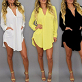 Mature women's lady deep V neck long sleeve chiffon short dress large size