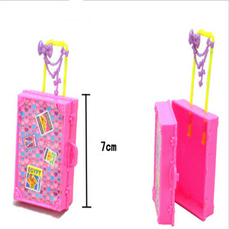 1PC Plastic 3D Cute Travel Suitcase Luggage Case Trunk For Barbie Doll House Gift Toys Doll House Furniture Children Kids Toy(China)