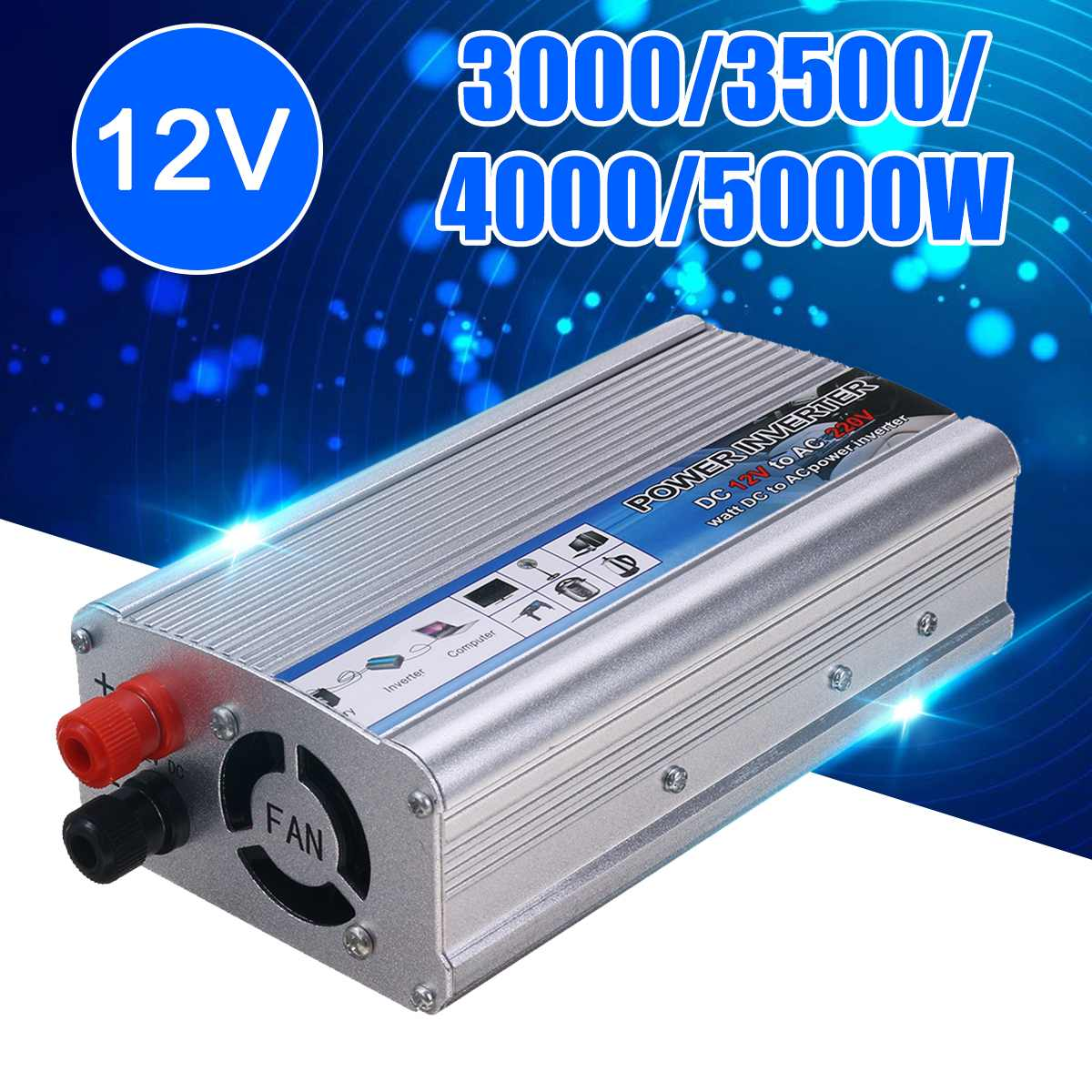 Adapter Inverter Charger Wave Car-Power 5000W-3000 Portable 220V Sine To Watt 12V DC