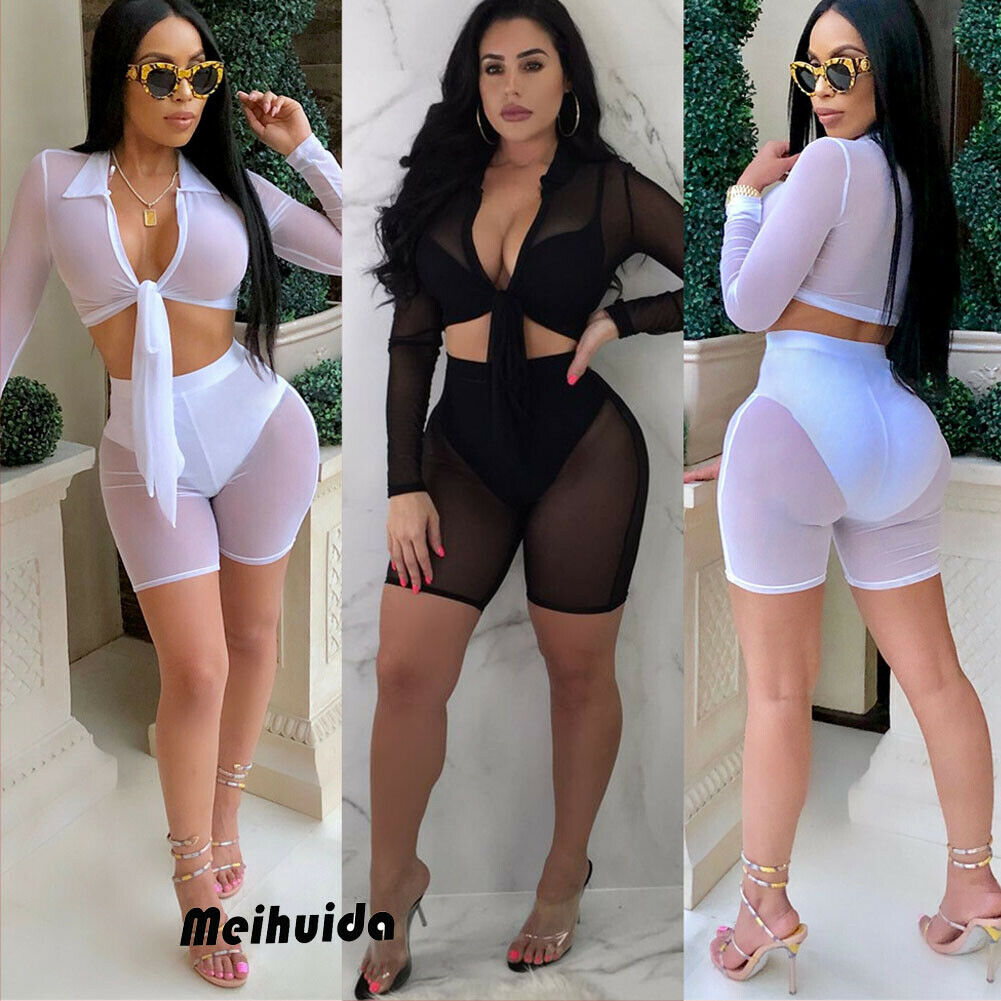 2PCS High Waist Women's Bikini 2019 Beach Swimsuit Cover Up Fishnet See Through Mesh Crop Top Shorts Pant Two Pieces Outfits