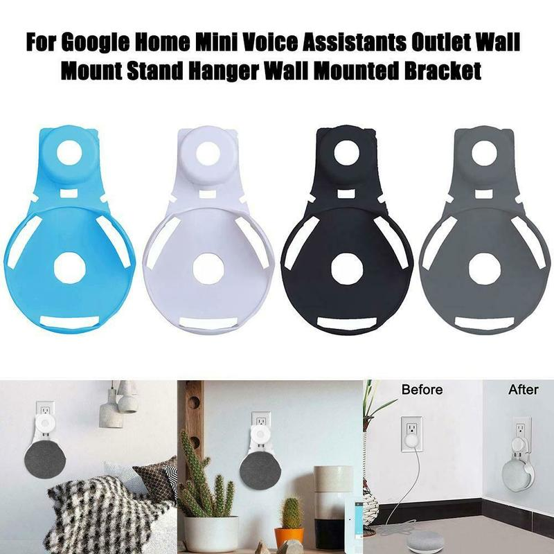 For Google Home Mini Voice Assistant Plug Hot ABS Outlet Wall Mount Holder Cord Bracket  In Kitchen Bedroom Portable Audio Stand