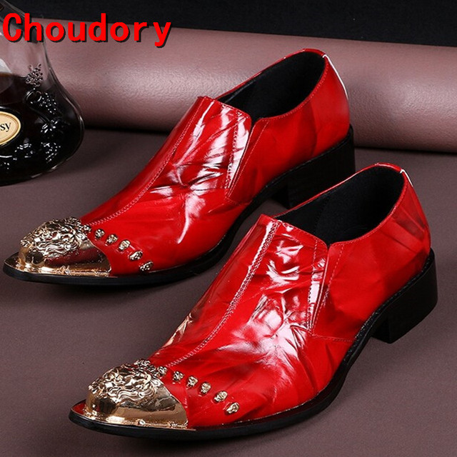 Choudory Men Shoes Luxury Brand Red Loafers Sequined Gold Metal Dress Shoes  Men Leather Luxury Party Pointed Toe Size12 9da380537135