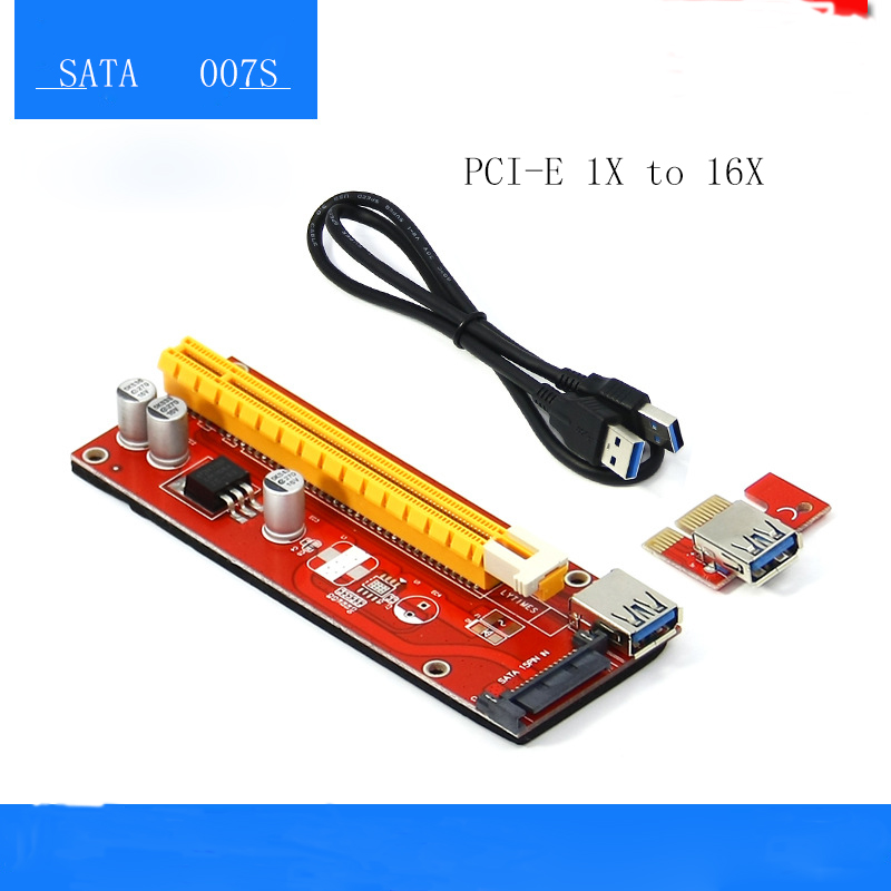 5pcs New Ethereum miner Pcie Riser 1X to 16X gpu Adapter mining rig Pci Express Card 1x To 16x GPU Usb 3.0 Extender Riser Card new card pcie 1 to 4pci express 16x