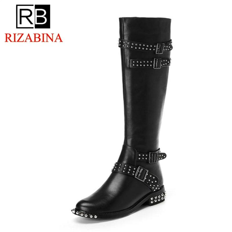 Sexy Cálido De Invierno Rizabina Zapatos 34 Rodilla Remache Tacón Botas 39 Las Real Tamaño Hebilla Cuero Alto Mujeres black La Negro dqwwpO