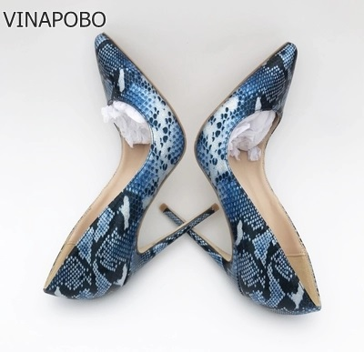 VINAPOBO <font><b>Top</b></font> <font><b>Quality</b></font> Sakura Snake Printing <font><b>Women</b></font> <font><b>High</b></font> <font><b>Heels</b></font> <font><b>2018</b></font> NEW Fashion Party Wedding Blue <font><b>Sexy</b></font> <font><b>Women</b></font> <font><b>Shoes</b></font> plus Size 43 image