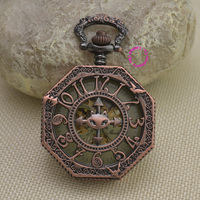 wholesale red bronze retro vintage cat classic arabic number brass mechanical pocket watch fob watches with short waist chain