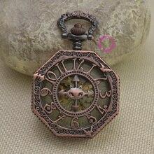 Nueva red número árabe latón de bronce retro del gato del vintage clásico reloj de bolsillo mecánico fob relojes con cadena de la cintura corta