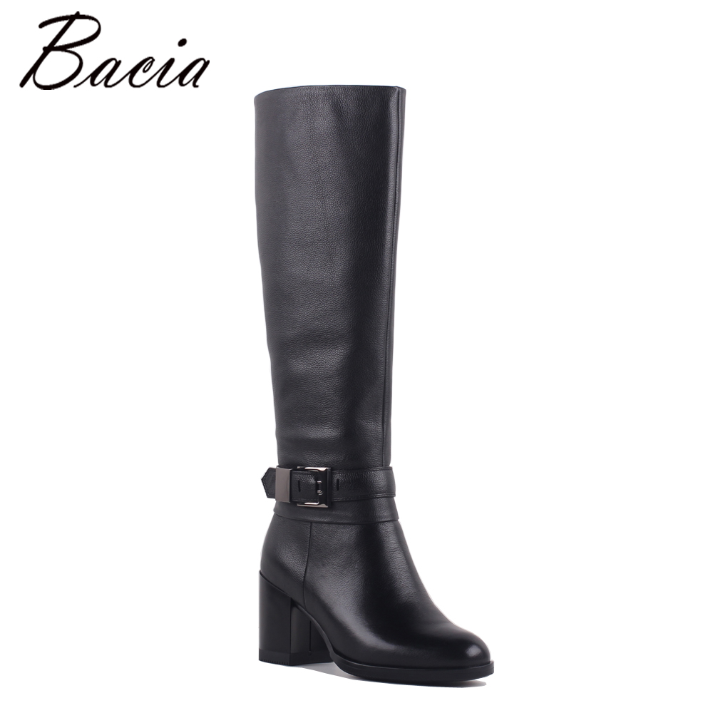 Bacia Vintage Women Cow Leather Boots Retro Buckle Winter Wool Shoes Boots Ladies Mid-Calf Genuine Leather Quality Boots SB067
