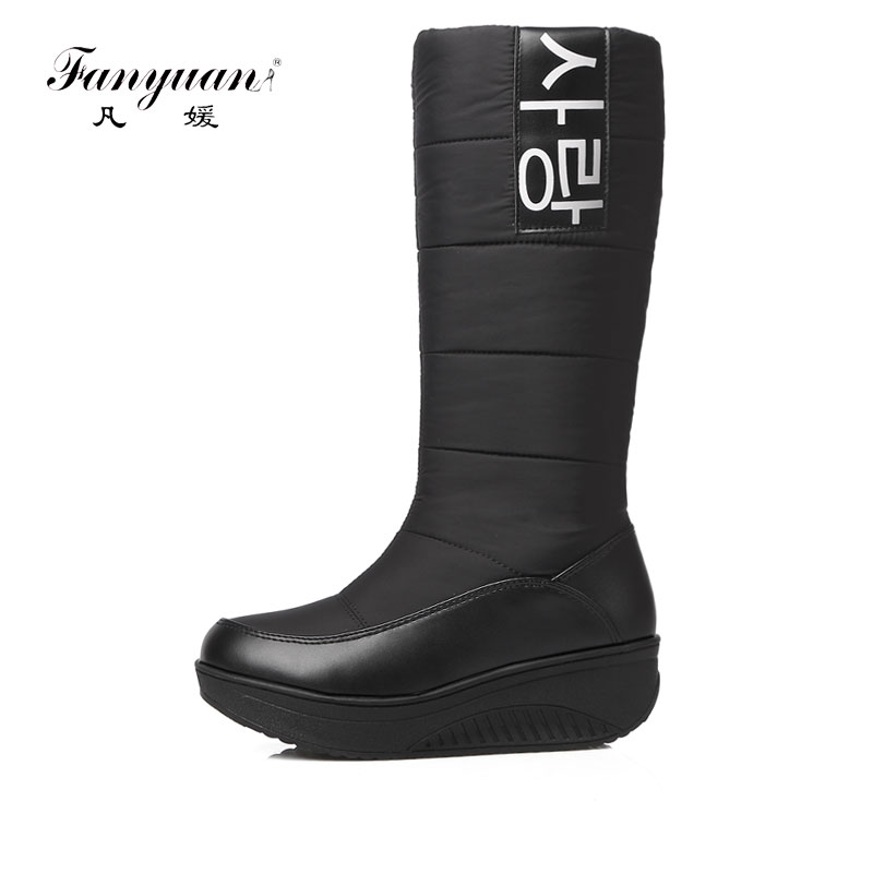 Fanyuan New Cotton fashion waterproof snow boots women's knee high boots flat winter boots platform fur shoes women size 35-44 new cotton fashion waterproof snow boots women s knee high boots flat winter boots platform fur shoes women size 34 43