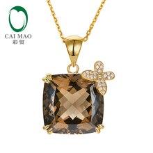 Caimao ювелирные изделия 20.68ct Натуральный дымчатый кварц 14 к желтое золото 0.12ct Проложить Набор бриллиантов кулон