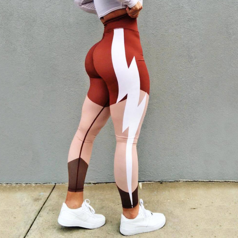 Women Fashion Casual Colors Knitted   Leggings   Printing High Waist Pencil Pants Sexy Push Up Leggins Mujer Female Orange   Leggings