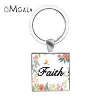 Faith,Dream,Love,Hope,Vintage,Believe Art Letter Printed Glass Cabochon Pendant Keychains Square Memory Key Chains Jewelry Gifts