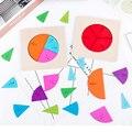 Placa de ação para aprendizado, divisão de madeira brinquedos educativos matemática montessori circular